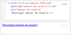 Ejemplo de un vínculo HTML para descarga de archivo