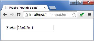 Input tipo texto con valor de fecha